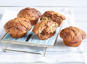 Chocolate-Hazelnut-Swirled Banana Muffins