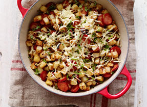 Chorizo and Swiss Cheese Potato Hash