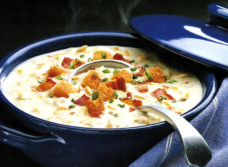 clam chowder with bacon and croutons recipe dairy goodness