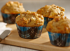 Coral Lentil, Pear and Nut Muffins