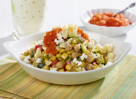 Corn & Squash Succotash with Canadian Cheese and Bell Pepper Jam Recipe