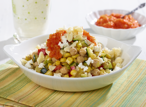 Corn & Squash Succotash with Canadian Cheese and Bell Pepper Jam