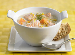 Corn, Sweet Potato and Salmon Chowder