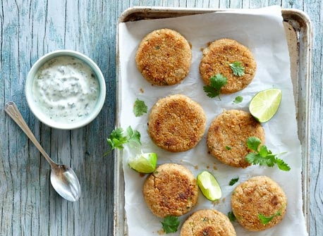 Crab Cakes with Lime Cilantro Yogurt Recipe