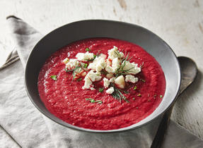 Cream of beet with Feta & herbs