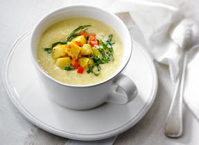 Cream of Corn and White Beans, with Polenta Croutons