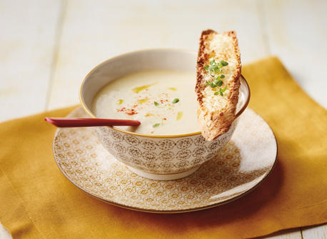 Cream of Onion Soup with Cheese Crostini recipe   Dairy Goodness