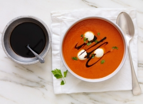 Cream of Roasted Red Pepper with Bocconcini