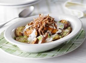 Creamy BBQ Potato Salad with Crispy Red Onions