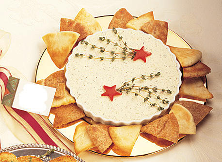 Creamy Herbed Cheese Spread with Garlic Pita Chips recipe | Dairy ...