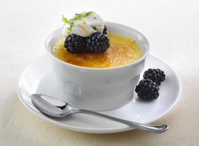 Crème Brûlée with Tarragon Cream and Blackberry