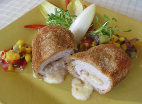 Crispy pork with cheese and a fruit salsa