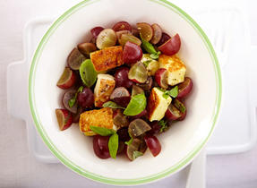 Curried Red Grape Salsa with Grilled Halloumi