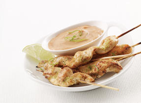 Curry Chicken Skewers with Zesty Peanut Sauce