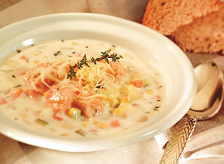Delicious Salmon Vegetable Chowder recipe | Dairy Goodness