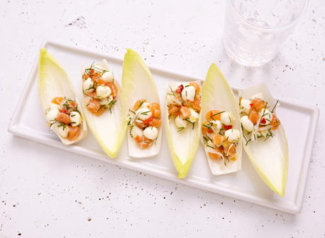 Endive spears with Bocconcini & salmon Recipe