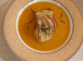 Fall squash soup with Gouda and pear