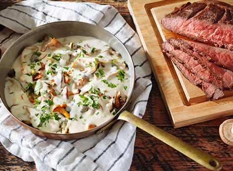 Family-Style Steak with Mixed Mushrooms Recipe