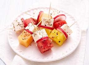 Feta & melon brochettes