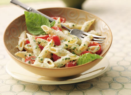 Fresh Tomato and Pesto Penne with Parmesan Recipe