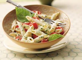 Fresh Tomato and Pesto Penne with Parmesan