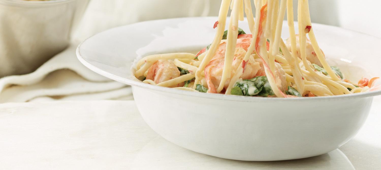 Garlic Shrimp and Spinach Linguine recipe | Dairy Goodness