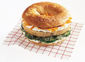 Get a Triple Decker Garden Vegetable Bagel on the double