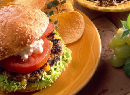 Giant Peachy Cheddar Burgers Recipe