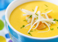 Golden Carrot Soup with Mozzarella