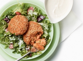 Golden Crispy Salmon Cakes on Greens