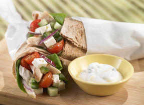 Greek Veggie, Chicken & Cheese Wrap