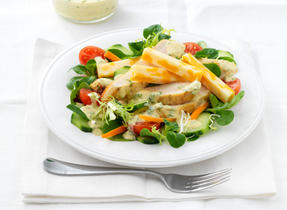 Green Salad with Grilled Chicken, Swiss Cheese and Curry Dressing