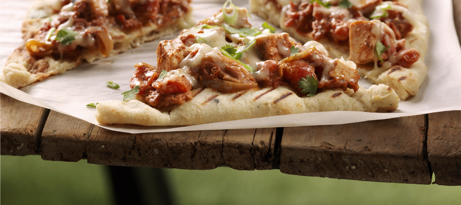 Grilled Butter Chicken Pizza recipe