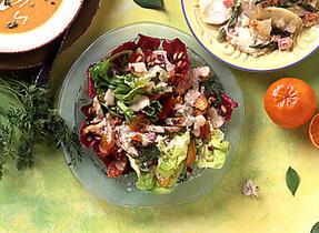 Grilled Chicken, Orange and Pine Nut Salad