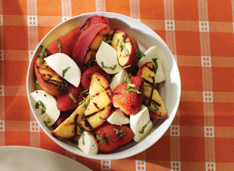 Grilled fruit salad with Bocconcini and mint recipe | Dairy Goodness