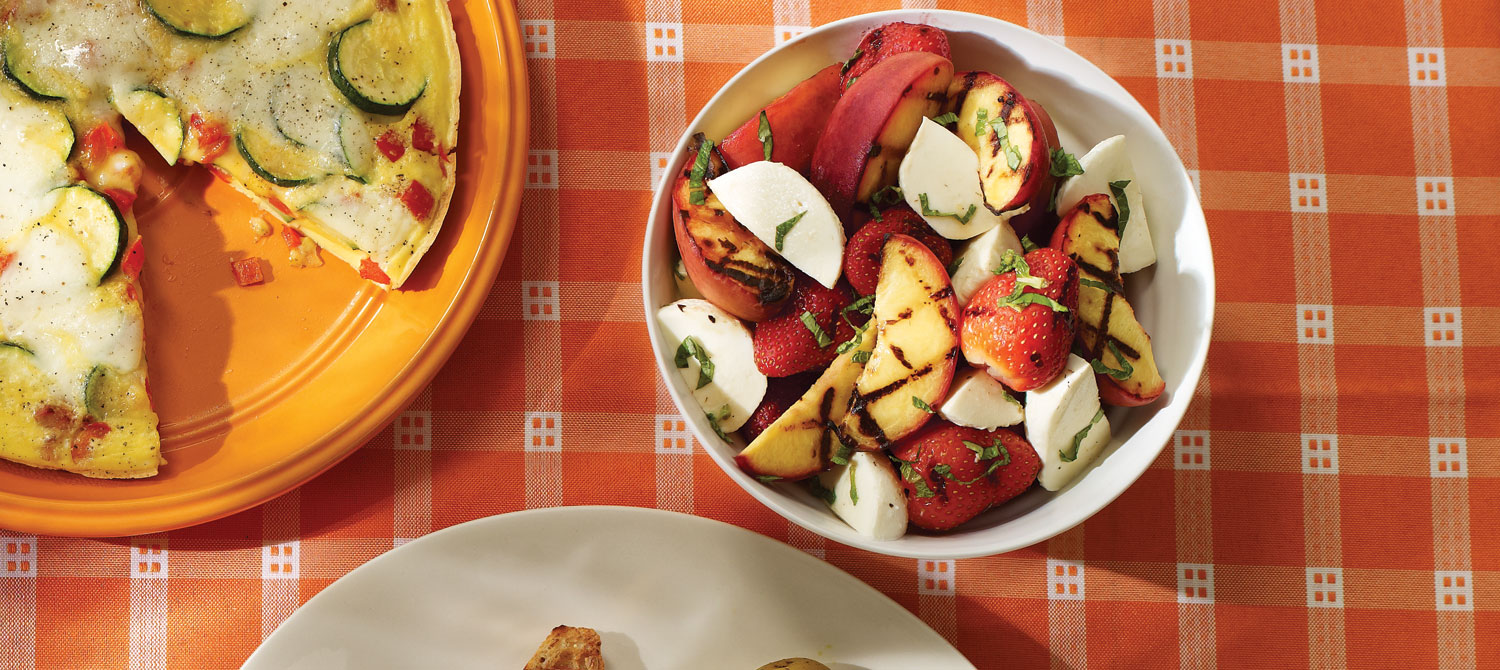 Grilled fruit salad with Bocconcini and mint recipe