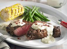 Grilled Pink Peppercorn Steak with Creamy Cambozola Sauce