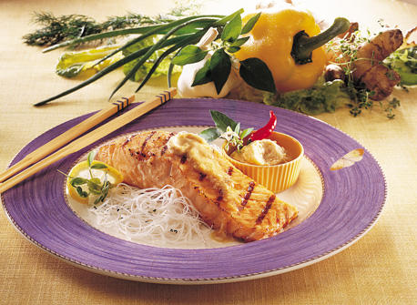 Grilled Salmon Fillets with Teriyaki Ginger Butter Recipe
