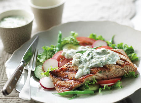 Grilled Salmon Salad with Feta Dressing Recipe