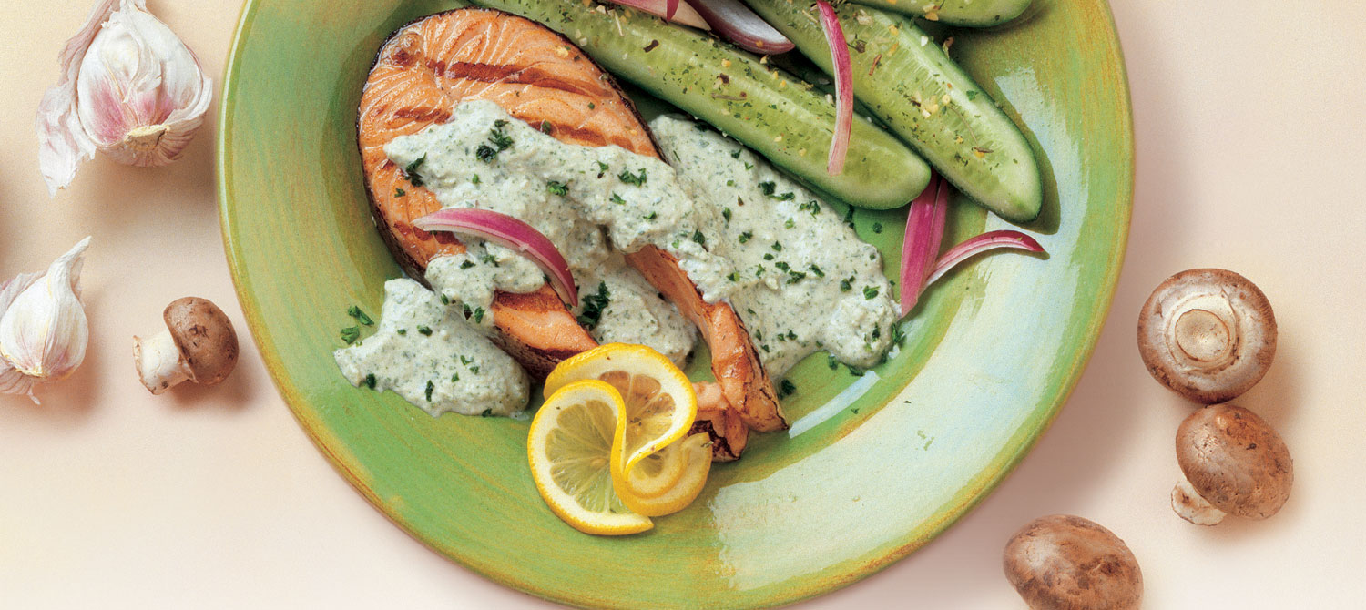 Grilled Salmon with Avocado Herb Sauce recipe | Dairy Goodness