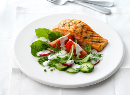 Grilled Salmon with Feta & Cream Dressing Recipe