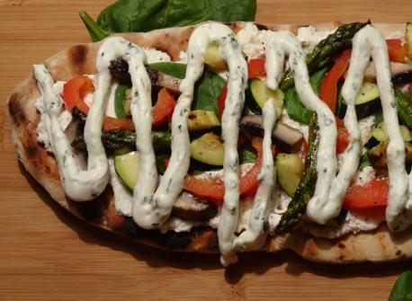 Grilled Veggie Flatbread with Pesto Whipped Cream Recipe