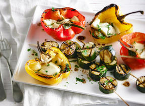 Grilled Zucchini and Bell Peppers with Halloumi Cheese