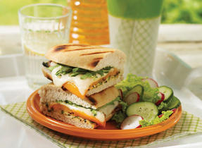 Grilled zucchini panini with Mozzarella and peppers