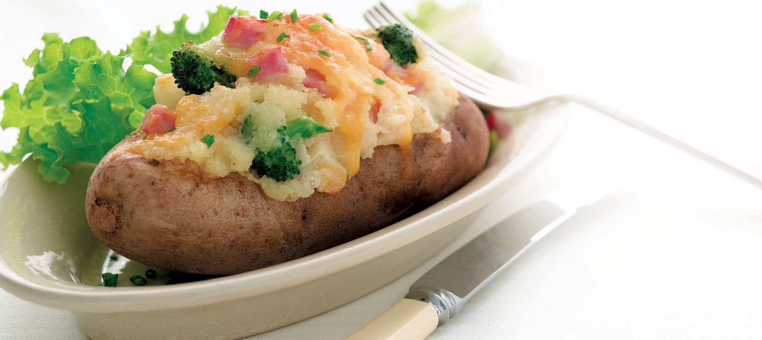 Ham And Cheese Baked Potatoes Recipe Dairy Goodness