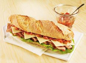 Ham, salsa and Monterey Jack sandwich