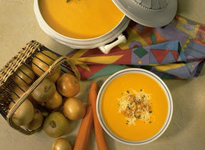 Havarti-Topped Golden Carrot Soup