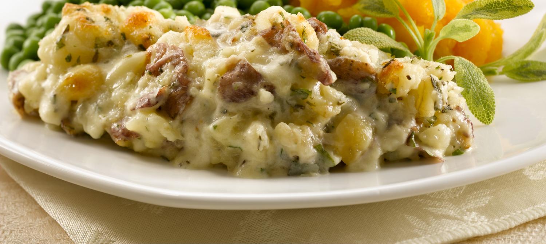 Crispy-Topped Vegetable Casserole Cauliflower, Leek and Bacon Gratin