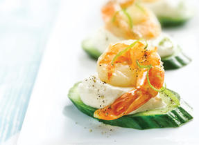 Jumbo Shrimp Canapés with Chili Lime Cream