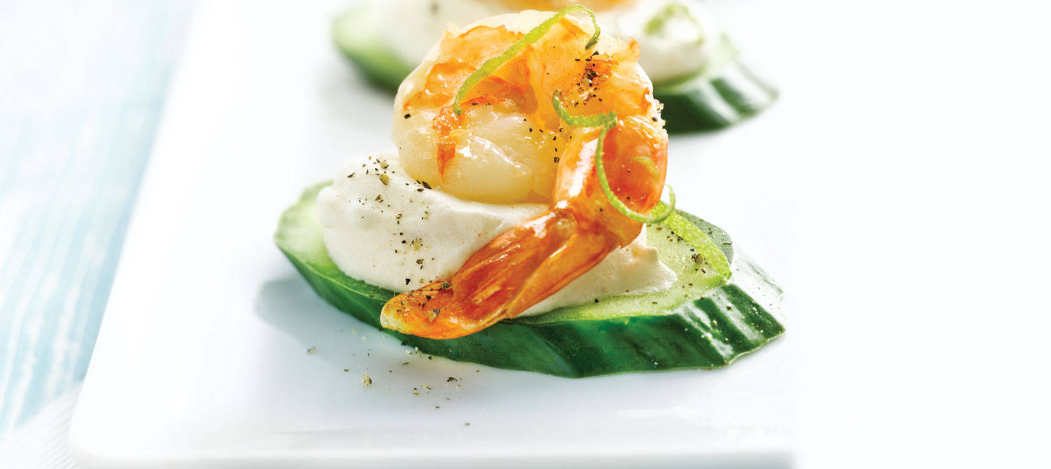 Jumbo shrimp canap s with chili lime cream recipe dairy for Canape hors d oeuvres